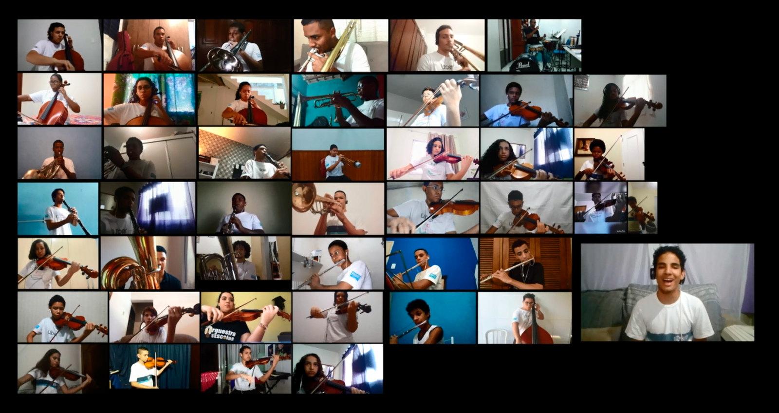 """Estudantes-músicos da rede municipal tocaram, virtualmente, """"O bêbado e o equilibrista"""". Foto: Divulgação / Prefeitura do Rio"""